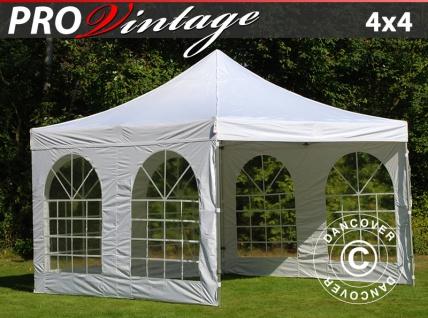 Faltzelt Faltpavillon Wasserdicht FleXtents PRO Vintage Style 4x4m Weiß, mit 4 Seitenwänden