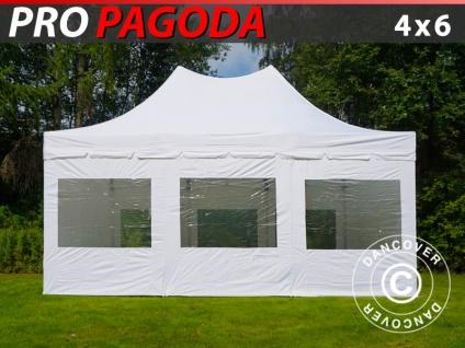 Faltzelt Faltpavillon Wasserdicht FleXtents PRO Peak Pagoda 4x6m Weiß, mit 8 Seitenwänden