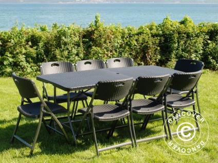 Partypaket, 1 Klapptisch im Rattan-Look PRO (182cm) + 8 Stühle im Rattan-Look, schwarz - Vorschau 2