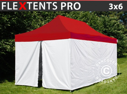 Faltzelt Faltpavillon Wasserdicht FleXtents® PRO, Sanitäts- & Notfallzelt, 3x6m, rot/weiß, inkl. 6 Seitenwände