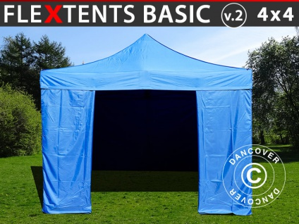 Faltzelt Faltpavillon Wasserdicht FleXtents Basic v.2, 4x4m Blau, mit 4 wänden