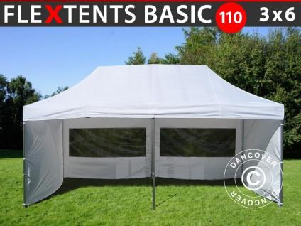 Faltzelt FleXtents Basic 110, 3x6m Weiß, mit 6 wänden