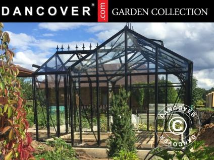Orangerie Glas ZEN 12, 78m², 3, 81x3, 77x2, 5m, mit Fundament und Firstaufstand, schwarz
