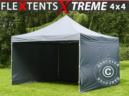 Faltzelt FleXtents Xtreme 4x4m Grau, inkl. 4 Wänden