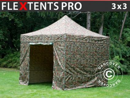 Faltzelt Faltpavillon Wasserdicht FleXtents PRO 3x3m Camouflage, mit 4 Seitenwänden