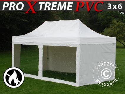 Faltzelt Faltpavillon Wasserdicht FleXtents Xtreme Heavy Duty 3x6m Weiß, mit 6 Seitenwänden