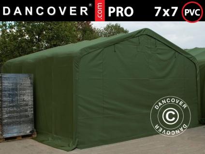 Lagerzelt Zeltgarage Garagenzelt PRO 7x7x3, 8m PVC mit Dachfenster, Grün