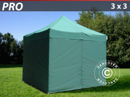 Faltzelt FleXtents PRO 3x3m Grün, mit 4 wänden