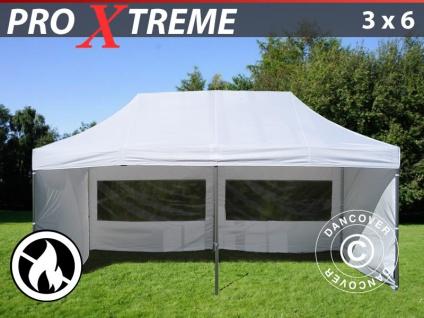 Faltzelt Faltpavillon Wasserdicht FleXtents Xtreme 3x6m Weiß, Flammenhemmend, mit 6 wänden