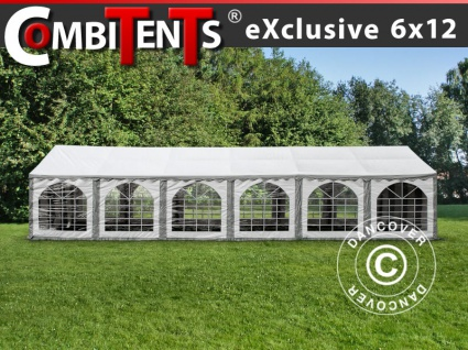Partyzelt Festzelt, Exclusive CombiTents® 6x12m 4-in-1, Grau/Weiß