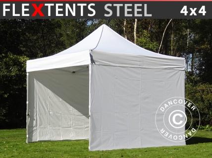 Faltzelt Faltpavillon Wasserdicht FleXtents Steel 4x4m Weiß, mit 4 Seitenwänden