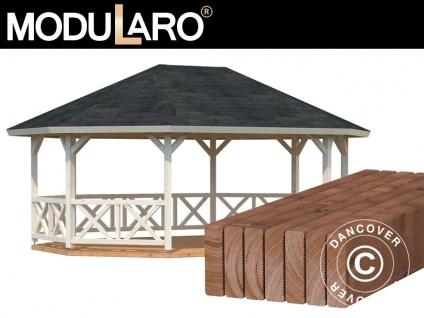 Holzpavillon mit Holzboden, 4, 67x6, 17x3, 62m, 25m², Natur