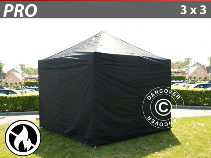 Faltzelt FleXtents PRO 3x3m Schwarz, Flammenhemmend, mit 4 wänden