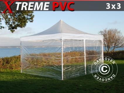 Faltzelt Faltpavillon Wasserdicht FleXtents Xtreme 50 3x3m Transparent, mit 4 Seitenwänden