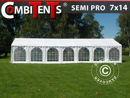 Partyzelt Festzelt, SEMI PRO Plus CombiTents® 7x14m 5-in-1, Weiß