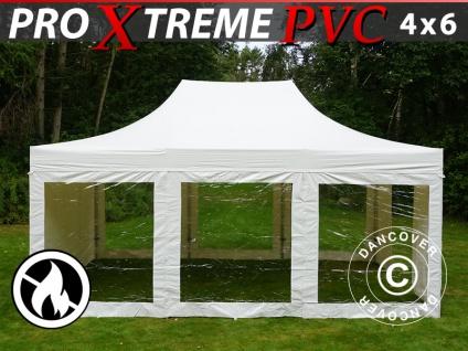 Faltzelt Faltpavillon Wasserdicht FleXtents Xtreme Heavy Duty 4x6m Weiß, mit 8 Wänden