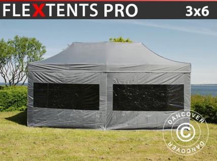 Faltzelt FleXtents PRO 3x6m Grau, mit 6 wänden