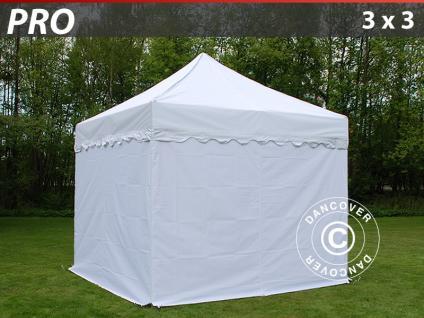 Faltzelt Faltpavillon Wasserdicht FleXtents PRO Wave 3x3m Weiß, mit 4 wänden