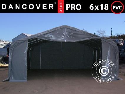 Lagerzelt Zeltgarage Garagenzelt PRO 6x18x3, 7m PVC mit Dachfenster, Grau