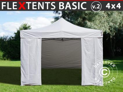 Faltzelt Faltpavillon Wasserdicht FleXtents Basic v.2, 4x4m Weiß, mit 4 Seitenwänden