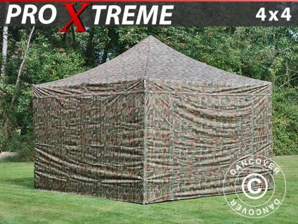 Faltzelt Faltpavillon Wasserdicht FleXtents Xtreme 4x4m Camouflage, mit 4 wänden