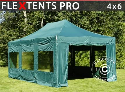 Faltzelt FleXtents PRO 4x6m Grün, mit 8 wänden
