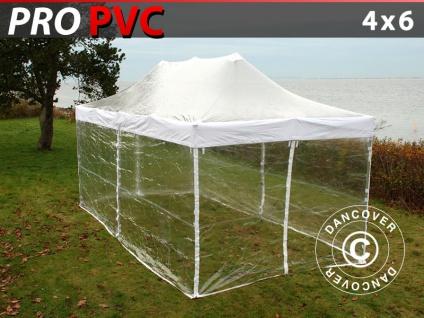 Faltzelt Faltpavillon Wasserdicht FleXtents PRO 4x6m Transparent, mit 8 Seitenwänden