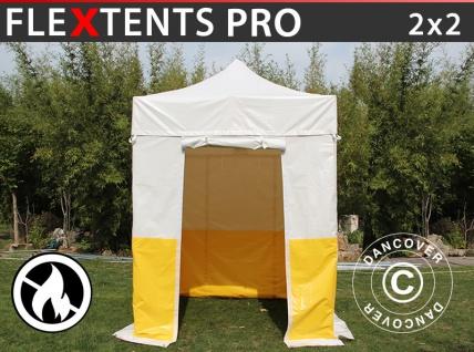 Faltzelt Faltpavillon Wasserdicht FleXtents® PRO 2x2m, PVC, Arbeitszelt, flammfest, inkl. 4 Seitenwände