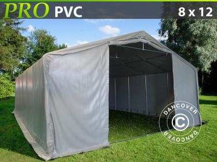 Lagerzelt Zeltgarage Garagenzelt PRO 8x12x5, 2m PVC mit Dachfenster, Grau