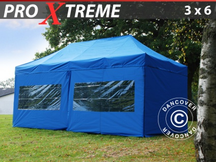 Faltzelt Faltpavillon Wasserdicht FleXtents Xtreme 3x6m Blau, inkl. 6 Wänden