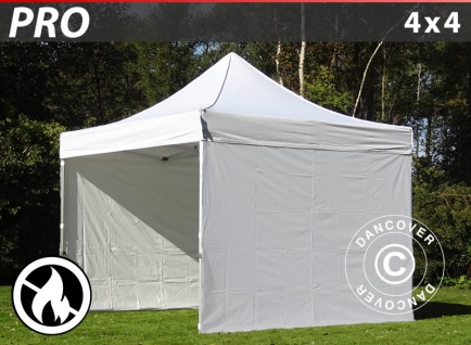 Faltzelt Faltpavillon Wasserdicht FleXtents PRO 4x4m Weiß, Flammenhemmend, mit 4 Seitenwänden