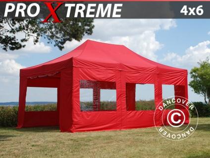 Faltzelt Faltpavillon Wasserdicht FleXtents Xtreme 4x6m Rot, mit 8 wänden