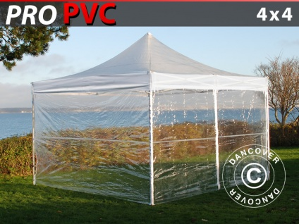 Faltzelt Faltpavillon Wasserdicht FleXtents PRO 4x4m Transparent, mit 4 Seitenwänden