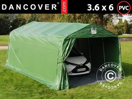 Zeltgarage Lagerzelt Garagenzelt PRO 3, 6x6x2, 7m PVC mit Bodenplane Abdeckplane, grün