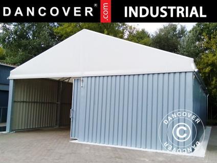 Industrielle Lagerhalle Steel 12x25x6, 18m mit Schiebetor, PVC/Metall, weiß/grau