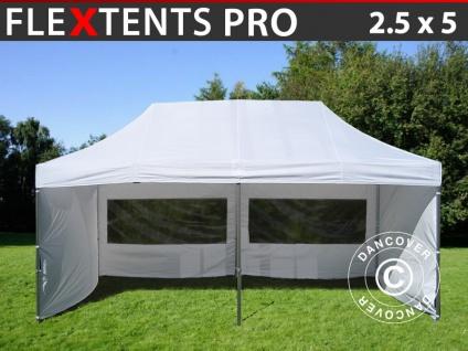 Faltzelt FleXtents PRO 2, 5x5m Weiß, mit 6 wänden