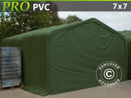 Lagerzelt Zeltgarage Garagenzelt PRO 7x7x3, 8m PVC, Grün