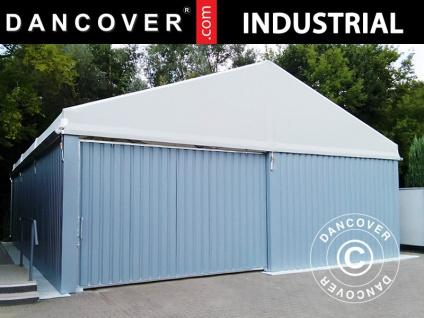 Industrielle Lagerhalle Steel 10x10x5, 8m mit Schiebetor, PVC/Metall, weiß/grau