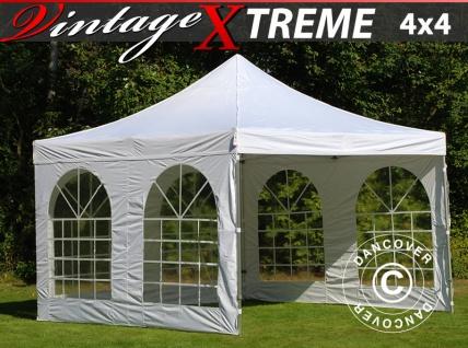 Faltzelt Faltpavillon Wasserdicht FleXtents Xtreme Vintage Style 4x4m Weiß, mit 4 wänden
