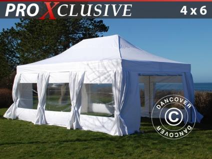 Faltzelt FleXtents PRO 4x6m Weiß, mit 8 wänden & Vorhänge