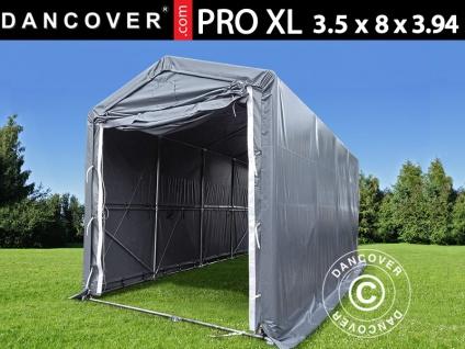 Lagerzelt PRO XL Bootszelt Zeltgarage Garagenzelt PRO XL 3, 5x8x3, 3x3, 94m, PVC, Grau