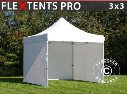 Faltzelt Faltpavillon Wasserdicht FleXtents PRO 3x3m Weiß, mit 4 Seitenwänden