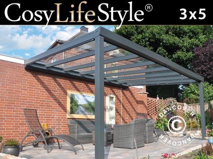 Terrassenüberdachung aus Glas, 3x5m, Anthrazit