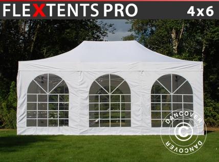 Faltzelt Faltpavillon Wasserdicht FleXtents PRO Vintage Style 4x6m Weiß, mit 8 Seitenwänden