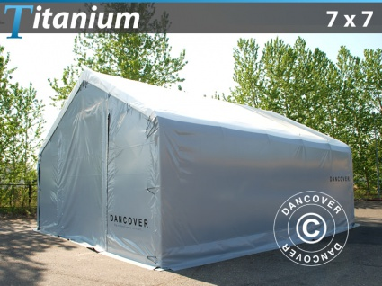 Zelthalle Titanium 7x7x2, 5x4, 2m, Weiß/Grau