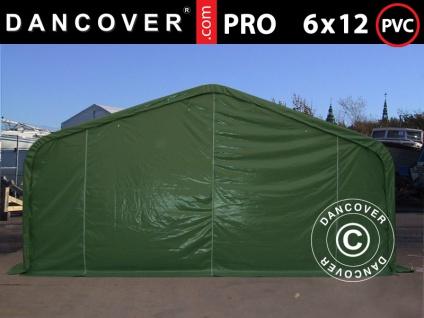 Lagerzelt Zeltgarage Garagenzelt PRO 6x12x3, 7m PVC mit Dachfenster, Grün