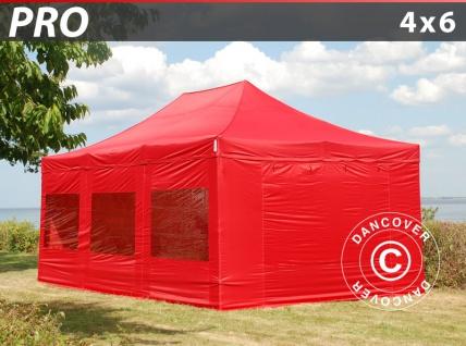 Faltzelt Faltpavillon Wasserdicht FleXtents PRO 4x6m Rot, mit 8 Seitenwänden