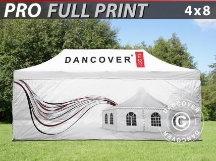 Faltzelt Faltpavillon Wasserdicht FleXtents PRO mit vollflächigem Digitaldruck, 4x8m, mit 4 Seitenwänden