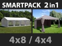 SmartPack 2-in-1-Lösung: Partyzelt festzelt Original 4x8m, weiß/Pavillon 4x4m, Sandfarbe