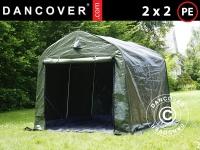 Lagerzelt Zeltgarage Lagerzelt Garagenzelt Garagenzelt PRO 2x2x2m PE, mit Bodenplane, Grün/Grau